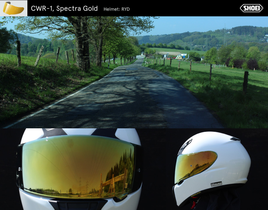 """4d38cbb2 The """"Spectra Gold"""" visor darkens more strongly than the silver- or  blue-mirrored one. So it corresponds rather to the """"Dark Smoke"""". In  contrast to this, ..."""